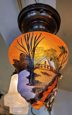 Antique Circa 1910 Single Light, Hand Painted Scenic Glass Flush Mount Fixture.