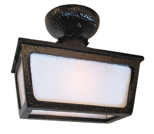 Antique Circa 1940 Single Light, Exterior Four Sided Porch Light Flush Mount Fixture with Milk Glass Panels.