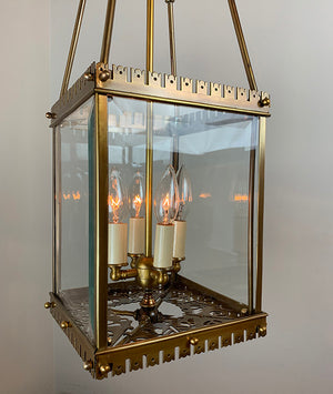 Antique Circa 1880 Eastlake Converted Gas Lantern Attributed to Mitchell Vance with Cast Bottom Gallery and Beveled Glass