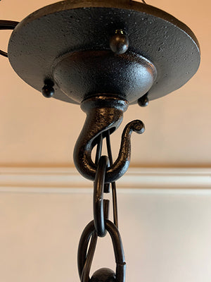 Antique Circa 1900 Arts and Crafts Wrought Iron Exterior Lantern