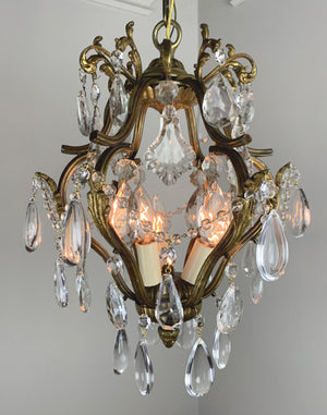 Antique Circa 1920 French Ormolu and Crystal Pendant