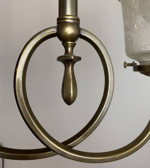 Antique Circa 1900s Two Light Gas Converted / Early Electric Fixture with Antique Shade.