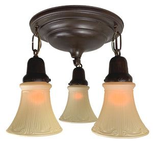 Antique Circa 1910 Three Light Stepped Flush Mount Fixture with Acorn Finial