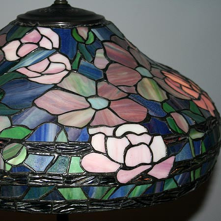 Antique Circa 1920 Leaded Glass Tiffany Style Cherry Blossom Shade on Nouveau Base