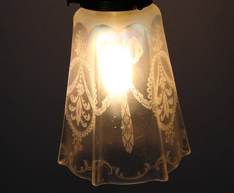 Antique Circa 1920 Floor Lamp With Cast Acanthus Details, and Antique Acid Etched Shade
