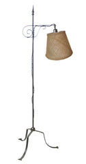 Antique Circa 1910 Wrought Iron Quilting Lamp With Scroll Details and a Three Footed Base.