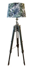 Antique Circa 1940 British WWII Adjustable Tripod Floor Lamp Conversion with Handmade Lampshade.