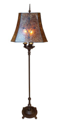 Antique Circa 1920 Three Light, Signed Rembrandt Cast Iron Floor Lamp with Stenciled Amber Mica Lampshade.