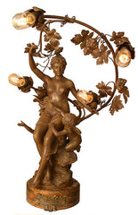Antique Circa 1900 Art Nouveau Figure Maiden Newel Post Table Lamp with Putti- Lamp Signed J. Garnier