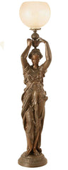 "Monumental Antique Spelter Circa 1880 Neo Grecian Figural Lamp with Original Bronze Finish and 2 5/8"" Acid Etched Shade"