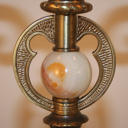 Antique Circa 1920 3 Light Scroll Arm Candelabra with Onyx Insert