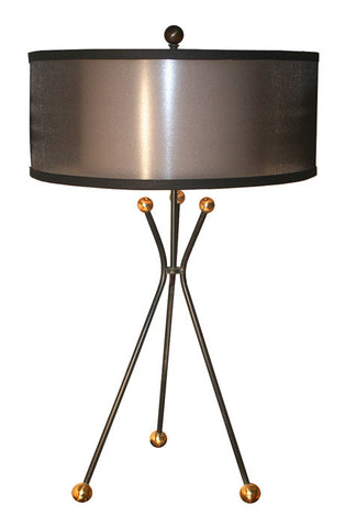 "$1090 PAIR - Pair of Handcrafted ""KIPLING"" Tripod Table Lamps with Custom Diffuser Shades"