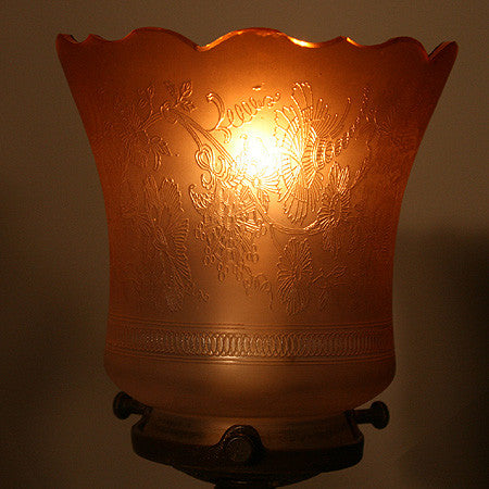 $570 PAIR - Pair of Circa 1930 Petite French Figural Lamps with Original Antique Etched and Peach Shades