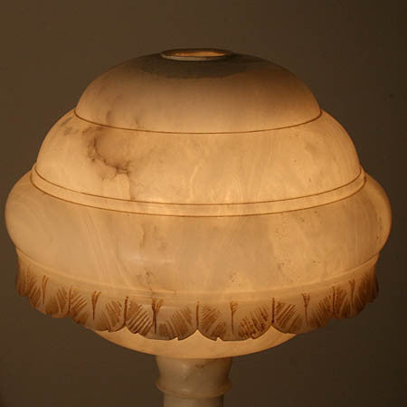 Outstanding Antique Circa 1930 Alabaster Farm Hand Maiden Figural Table Lamp