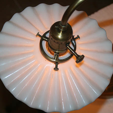 "Handcrafted ""MURDOCH"" Scroll Arm Desk Lamp With Antique Milk Glass Pie Crust Shades and Edison Bulbs"