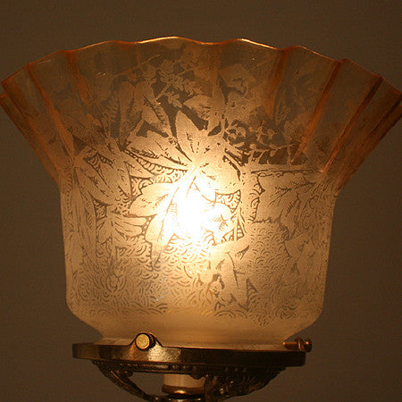 Antique Circa 1900, Single Light, Converted Figural Gas Stationary Lamp With An Antique Ruffled Stencil Etched Shade.