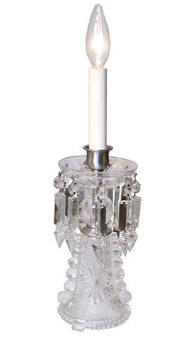 $650 PAIR - Pair of Antique Circa 1920, Single Light, Pressed Glass Candle Table Lamps with Cut Crystal Strands.