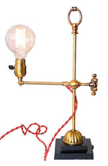Antique Circa 1905, Single Light, Early Industrial Adjustable Desk Lamp with Edison Style Lightbulb.
