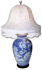 Antique Circa 1920, Single Light, Converted Chinese Porcelain Vase with Geese / Marsh Motif and Handmade Silk Lampshade with Lace Overlay.