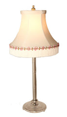 $770 PAIR - Pair of Antique Circa 1930, Single Light, Cut Glass Candle Boudoir Lamps Handsewn Silk Shades.