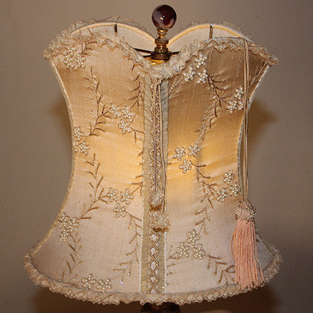 "Antique Circa 1940, Single Light, Italian Candlestick Table Lamp and Handmade Silk Dupioni ""Corset"" Lampshade with Lace Trim and Beaded Floral Overlay."