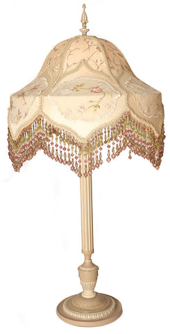 Antique Circa 1915, Single Light, Floral Candlestick Table Lamp and Handmade Silk Dupioni Lampshade with Antique Embroidered Applique Panels.