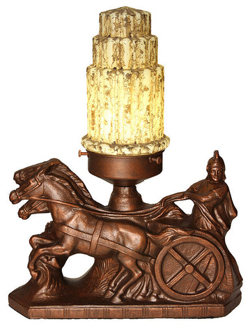 "Antique Circa 1930, Single Light, Art Deco ""Chariot"" Table Lamp with an Antique Crackle Glass Shade."