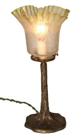 Antique Circa 1910, Single Light, Art Nouveau Tree Trunk Table Lamp with an Antique Chartreuse Etched Shade.