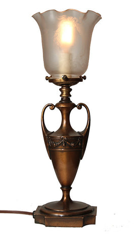 Antique Circa 1910 Neoclassical Urn Petite Table Lamp with Original Finish and Shade