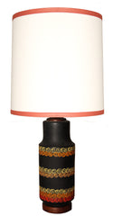 $850 PAIR - Pair of Antique Circa 1960, Single Light Black Ceramic Table Lamps with Handmade Lampshades.