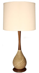 $600 PAIR - Pair of Antique Circa 1960, Single Light Ceramic and Wood Table Lamps with Handmade Lampshades.