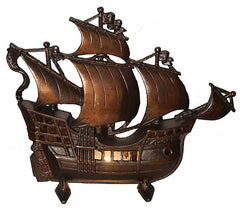 Antique Circa 1930, Single Light,  Signed Industrial Design Cast Iron Galleon Ship Table Lamp.