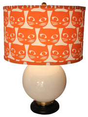"$1300 PAIR - Handcrafted ""Cats"" Mid Century Modern Influenced Milk Glass Table Lamps with Handmade Orange Linen Lampshades."