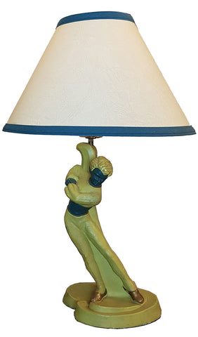$700 PAIR - Pair of Antique Circa 1950, Single Light Chartreuse Figural Chalkware Lamps with Handmade Lampshades.