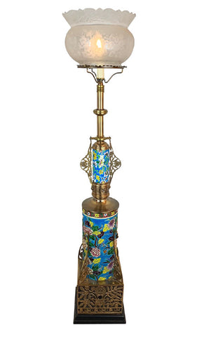 Antique Circa 1880 Aesthetic Movement, Eastlake Converted Gas Newel Post Table Lamp With Original Longwy Porcelain Inserts and Cast Geometric Openwork Base fitted With an Antique Acid Etched Floral Crown Top Shade