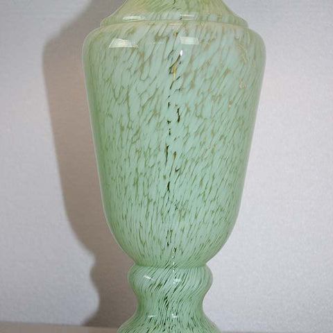 $850 PAIR - Antique Circa 1950 Made in France Mint Green Art Glass Table Lamps with Handmade Lampshades.