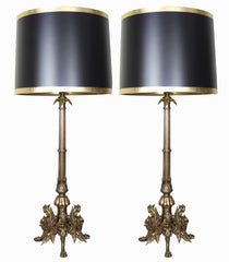 $1400 PAIR - Antique Circa 1880 Incredible Pair of European Neoclassical Anthopomorphic Table Lamps with Handmade Lampshades.