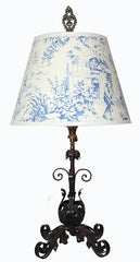 Antique Circa 1890, Single Light Converted Gas Wrought Iron Scroll Table Lamp with Handmade Lampshade.