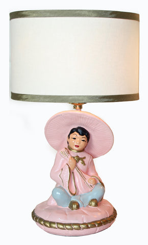 $400 PAIR - Antique Circa 1950, Single Light, Pair of Mid Century Figural Chalkware Lamps with Handmade Lampshades.