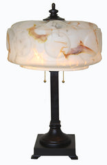 Antique Circa 1910, Two Light, Four Sided Column Table Lamp with an Antique Scalloped Spatter Glass Shade.