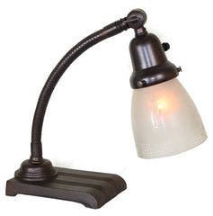 Antique Circa 1930, Single Light, Signed Crown Adjustable Art Deco Desk Lamp with Antique Stencil Etched Shade.