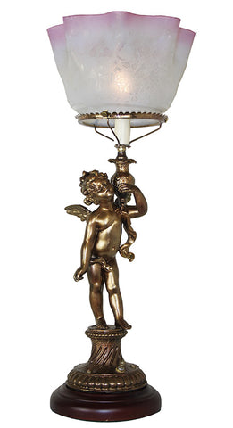"Antique Circa 1890s Converted Gas Cherub Newel Post Light with Antique 5"" Fitter Pink Tipped Shade"