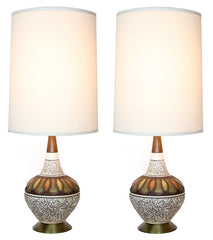 mid century lamps pair