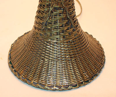 Antique Circa 1920s Brass Basket Woven Table Lamp