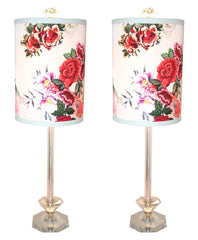 $750 PAIR - Antique Circa 1940 Pair of Crystal Six Sided Table Lamps with Etched Floral Details and Handmade Lampshades.