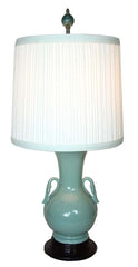 Antique Circa 1940s Petite Jade Green Pottery Table Lamp with Handmade Lampshade.