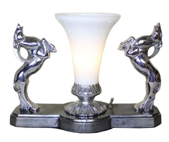 Antique Circa 1930 Exceptional Art Deco Rams Radio Lamp with Original Milk Glass Shade.
