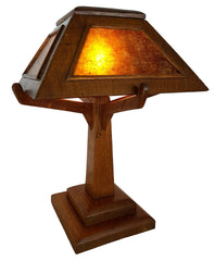 Antique Circa 1910 Arts and Crafts Mission Table Lamp with Quarter Sawn Oak Shade and Mica Panels.