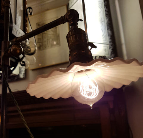Antique Circa 1910 Adjustable Industrial Desk Lamp with an Antique Ruffled Milk Glass Shade.