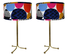 $750 PAIR -  Handmade Mid Century Modern Inspired Brass Tripod Lamps with Handmade Lampshades